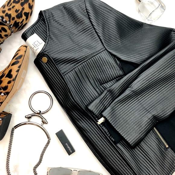 RACHEL Rachel Roy Jackets & Blazers - Black Textured Faux Leather Mixed Media Jacket
